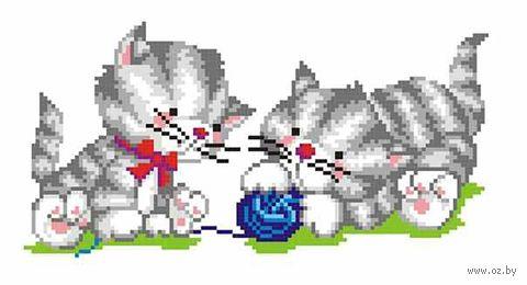 """Вышивка крестом """"Два котёнка с клубком"""" (130x240 мм) — фото, картинка"""