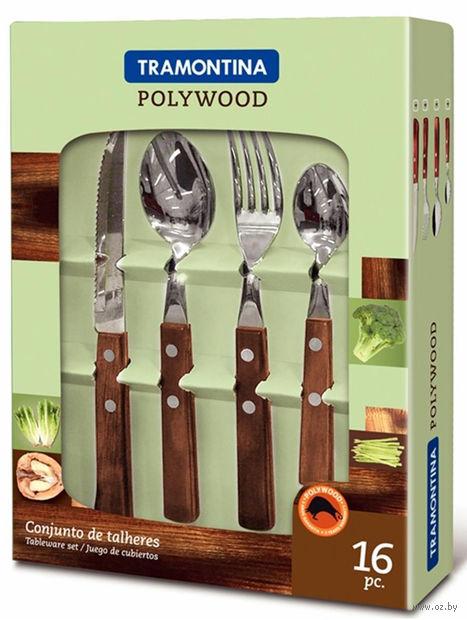 Набор столовых приборов металлических с деревянными ручками (16 предметов, арт. 21199938)