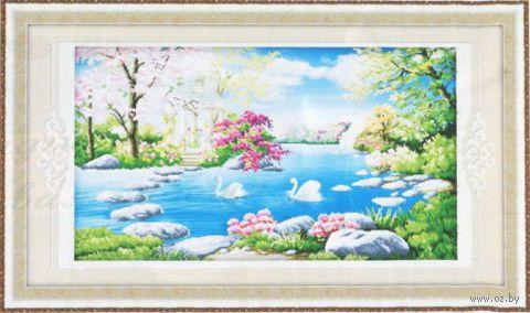 """Алмазная вышивка-мозаика """"Лебеди на пруду"""""""