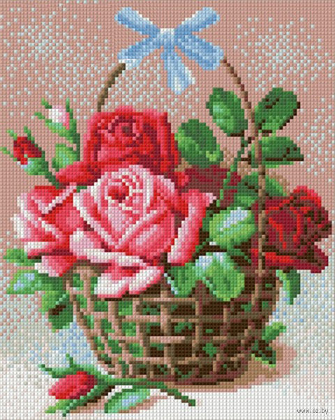 "Алмазная вышивка-мозаика ""Корзинка роз"" — фото, картинка"