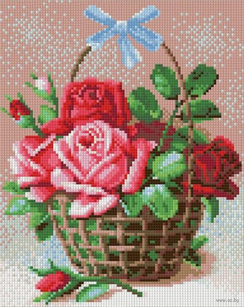 "Алмазная вышивка-мозаика ""Корзинка роз"" (240х300 мм) — фото, картинка"