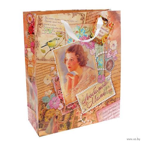 "Пакет бумажный подарочный ""Любимой маме"" (18х23х10 см; арт. 10320917)"