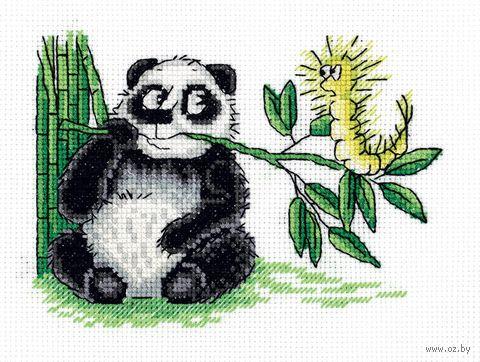 """Вышивка крестом """"Панда и гусеница"""" (160х125 мм) — фото, картинка"""