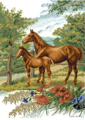 """Вышивка крестом """"Лошади на лугу"""" (330x450 мм) — фото, картинка"""