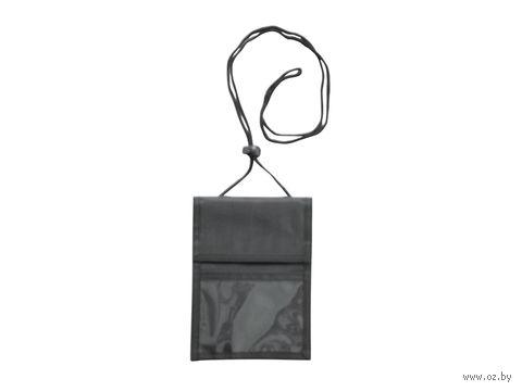 Нагрудное дорожное портмоне со шнурком (черное)