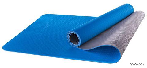 Коврик для йоги FM-201 (173x61x0,4 см; синий/серый) — фото, картинка
