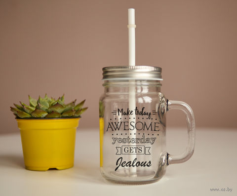 "Кружка-банка ""Make today awesome"" — фото, картинка"