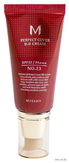 """BB крем для лица """"M Perfect Cover"""" SPF 42 тон: 23, natural beige — фото, картинка"""