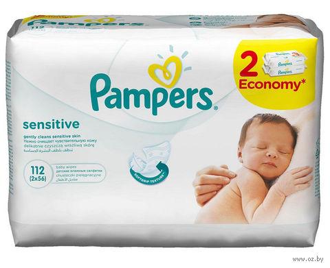 """Салфетки влажные детские """"Pampers Sensitive"""" (2 х 56 шт)"""