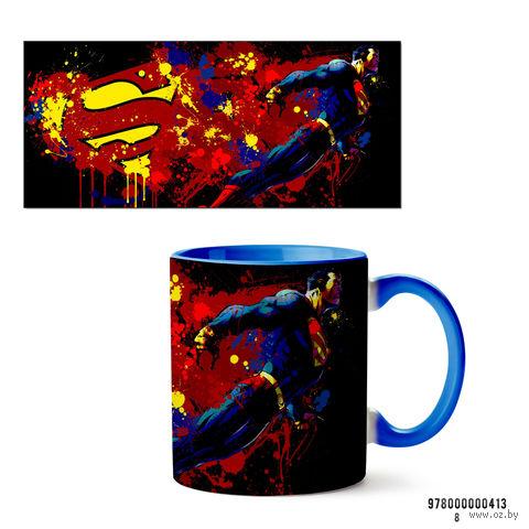 """Кружка """"Супермэн из вселенной DC"""" (арт. 413, голубая)"""