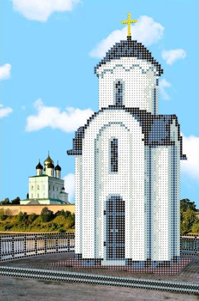 """Вышивка бисером """"Ольгинская часовня в Пскове"""" (180х270 мм) — фото, картинка"""
