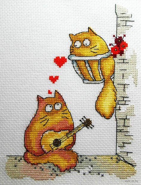 "Вышивка крестом ""Коты - серенада"" (200x150 мм) — фото, картинка"