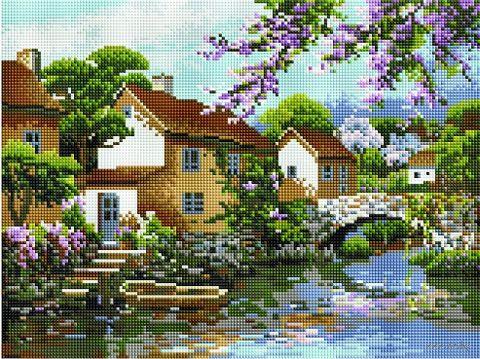 """Алмазная вышивка-мозаика """"Цветущий причал"""" (300х400 мм) — фото, картинка"""