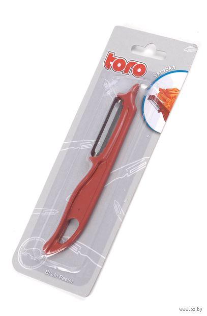 Скребок для очистки овощей металлический с пластмассовой ручкой (14,5 см; арт. 260030)