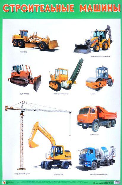 Строительные машины. Плакат — фото, картинка