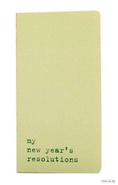 "Записная книжка в линейку ""Chapter. My New Years Resolutions"" (95х180 мм; светло-зеленая) — фото, картинка"