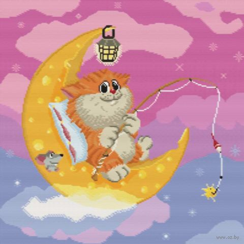 "Вышивка крестом ""Котик на Луне"" (360х360 мм) — фото, картинка"