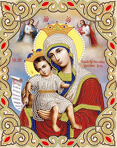 """Вышивка бисером """"Богородица. Достойно есть"""" (250х200 мм; арт. НИСА4-031) — фото, картинка"""
