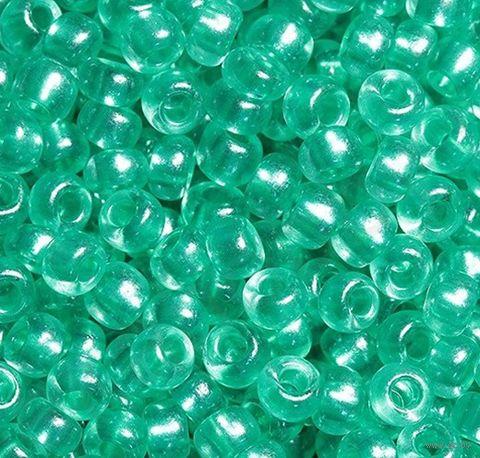 Бисер прозрачный с жемчужным центром №38258 (светло-бирюзовый; 10/0) — фото, картинка