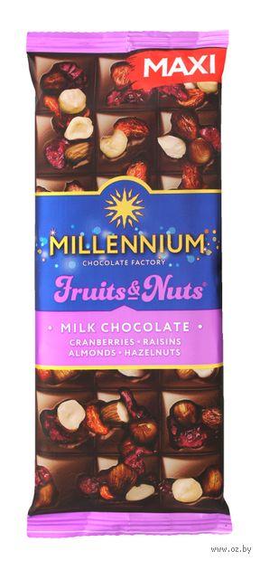 """Шоколад молочный """"Millennium. С миндалем, цельными лесными орехами, клюквой и изюмом"""" (140 г) — фото, картинка"""
