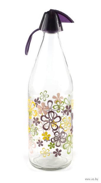 Бутылка стеклянная для воды с пластмассовой крышкой (1000 мл; арт. 111605)