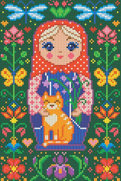 "Алмазная вышивка-мозаика ""Матрешка с котиком"" (200х300 мм) — фото, картинка"