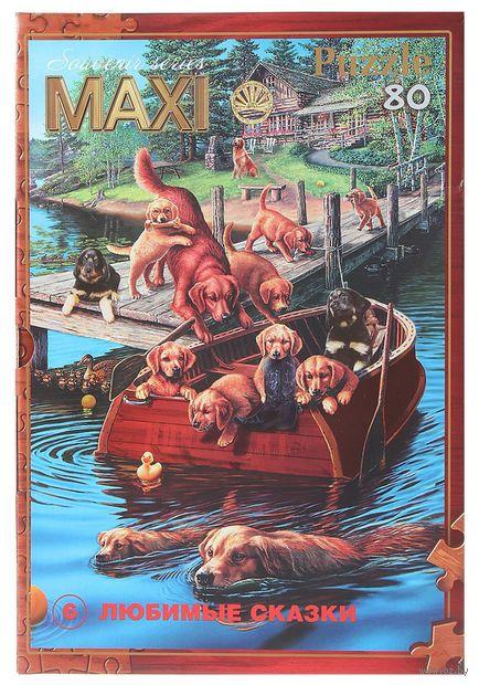 """Пазл maxi """"Собаки в лодке"""" (80 элементов) — фото, картинка"""