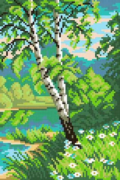"Вышивка крестом ""Береза у реки"" (210x140 мм) — фото, картинка"