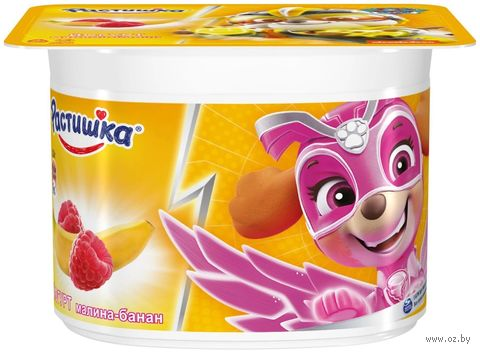 """Йогурт """"Растишка. С малиной и бананом"""" (110 г; 3%) — фото, картинка"""