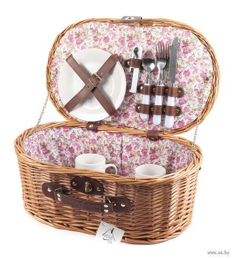 Набор посуды для пикника в корзине (на 2 персоны; арт. HQC-14122) — фото, картинка