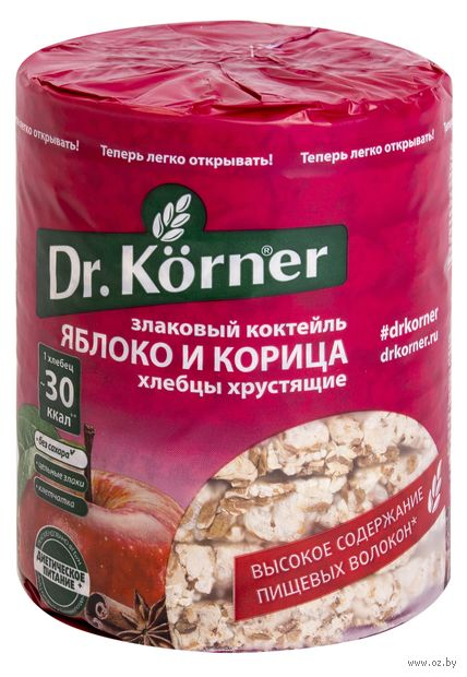 """Хлебцы мультизлаковые """"Dr. Korner. Со вкусом яблока и корицы"""" (90 г) — фото, картинка"""