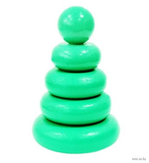 """Пирамидка зеленая """"Колечки"""" (5 элементов) — фото, картинка"""