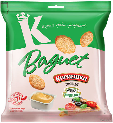 """Сухарики пшеничные """"Baguet. Сырный соус и пицца"""" (45 г) — фото, картинка"""