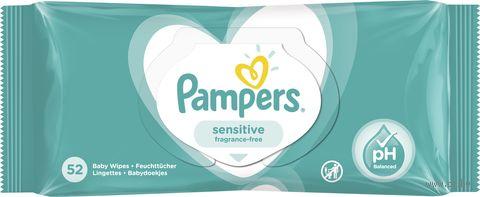 """Влажные салфетки детские """"Pampers Sensitive Single"""" (52 шт.) — фото, картинка"""