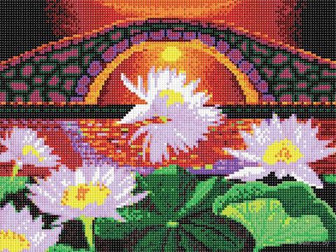 "Алмазная вышивка-мозаика ""Лотосы на закате"" (300х400 мм) — фото, картинка"