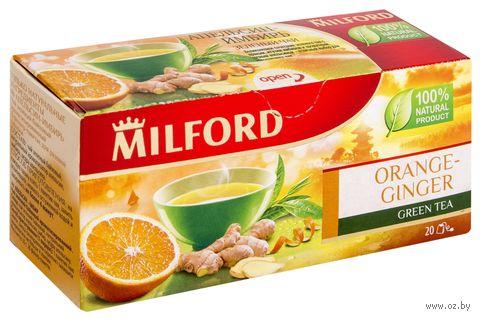 """Чай зеленый """"Milford. Апельсин-имбирь"""" (20 пакетиков) — фото, картинка"""