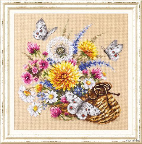 """Вышивка крестом """"Луговые цветы"""" (250x250 мм) — фото, картинка"""
