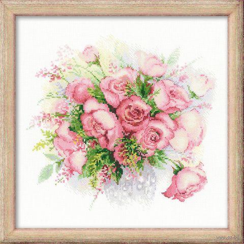 """Вышивка крестом """"Акварельные розы"""" (300х300 мм) — фото, картинка"""