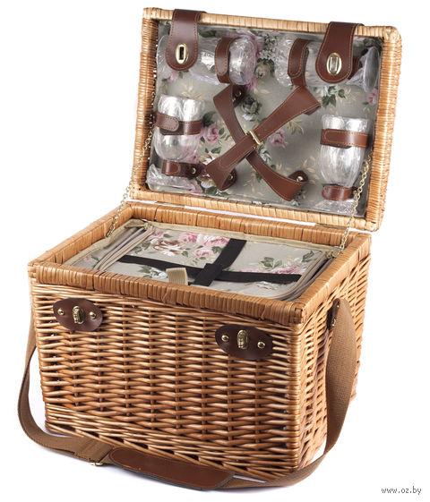 Набор посуды для пикника в корзине (на 4 персоны; арт. 10593176) — фото, картинка