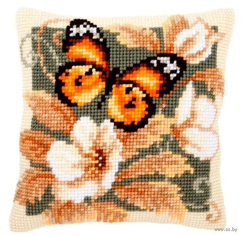 "Вышивка крестом ""Подушка. Чёрно-оранжевая бабочка"" (400х400 мм) — фото, картинка"
