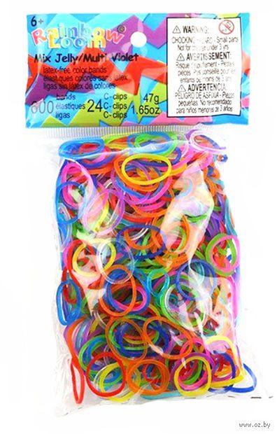 """Набор резиночек для плетения """"Rainbow Loom. Гелевый Микс"""" (600 резинок+24 клипсы) — фото, картинка"""