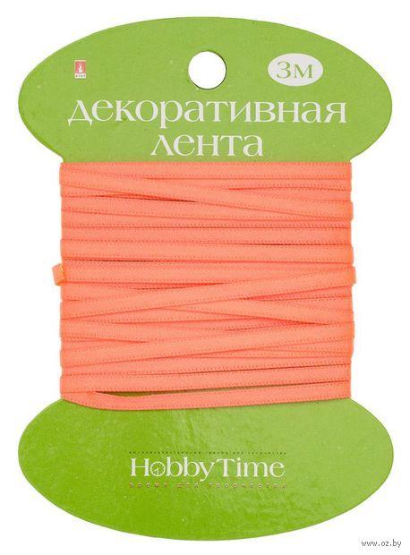 """Лента атласная """"Hobby Time"""" (персиковая неоновая; 3 мм; 3 м) — фото, картинка"""