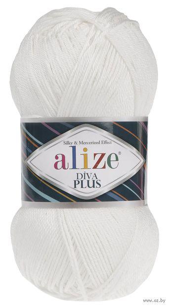 "Пряжа ""ALIZE. Diva Plus №1055"" (100 г; 220 м; белый) — фото, картинка"