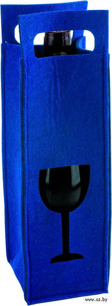 Декоративный чехол для бутылки вина (синий)
