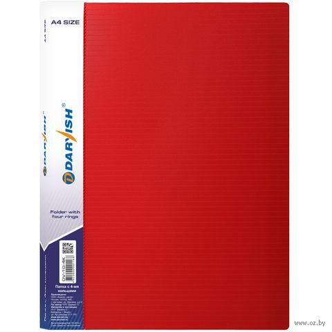 """Папка """"Darvish"""" на 4-х кольцах DV10-4K (А4/35 мм; цвет: красный)"""
