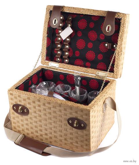 Набор посуды для пикника в корзине (на 4 персоны; арт. 10794597) — фото, картинка