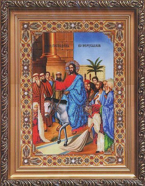 "Вышивка бисером ""Вход Господень во Иерусалим"" (270х371 мм) — фото, картинка"