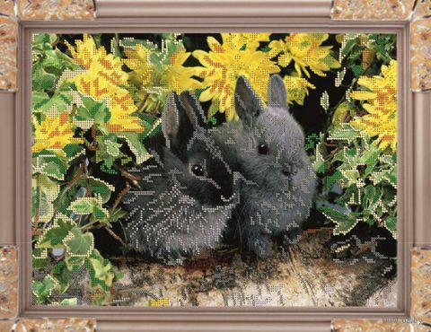 "Вышивка бисером ""Кролики"" (270х360 мм) — фото, картинка"