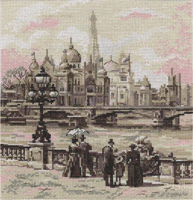 """Вышивка крестом """"Париж. На мосту Александра III"""""""