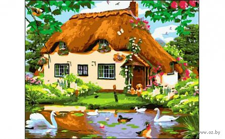 "Картина по номерам ""Деревенский домик"" (400x500 мм) — фото, картинка"